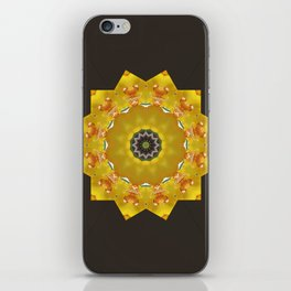 Orchid - Cymbidium Via Ambarino mandala/kaleidoscope on black iPhone Skin