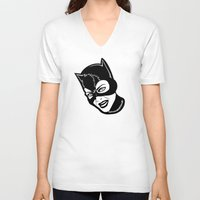 "meow V-neck T-shirts featuring ""Meow"" by Kramcox"