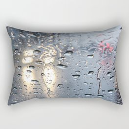 The headlights through wet glass. Rectangular Pillow