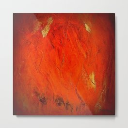 Italian Style Orange Stucco - Adobe Shadows Metal Print