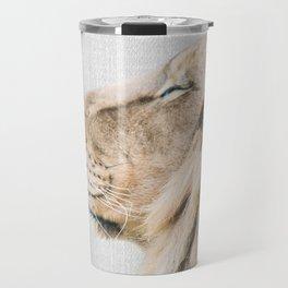 Lion Portrait - Colorful Travel Mug