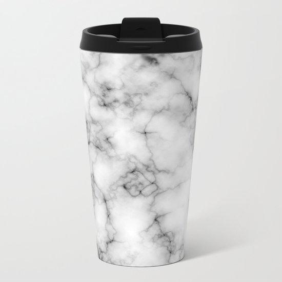 White Marble Texture Metal Travel Mug