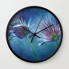 spring pasque flower Wall Clock