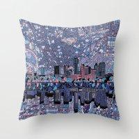 austin Throw Pillows featuring austin texas city skyline by Bekim ART