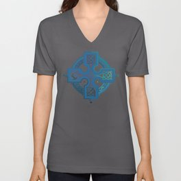 St. Patrick's Day Celtic Blue Cross Unisex V-Neck