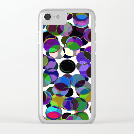 Cluttered Circles III - Abstract, Geometric, Pastel Coloured, Circle Patterned Artwork Clear iPhone Case