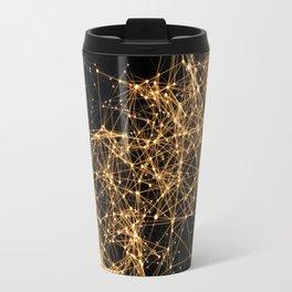 Shiny golden dots connected lines on black Travel Mug