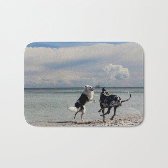 Happy Beach-dogs - Summer Dog Animal Ocean Sea Bath Mat