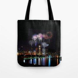 Chicago night skyline Tote Bag
