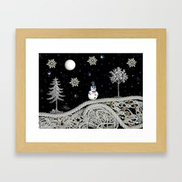 Pearly White Snow Night, Scanography Framed Art Print