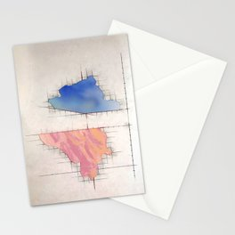 Measuring Space, painting drawing collage, blue, pink, Stationery Cards