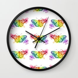 Butterfly Rainbows Wall Clock