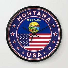 Montana, USA States, Montana t-shirt, Montana sticker, circle Wall Clock