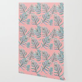 Pastel Ferns in Coral Pink Wallpaper