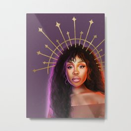 SZA crown digital portrait procreate drawing colorful Metal Print
