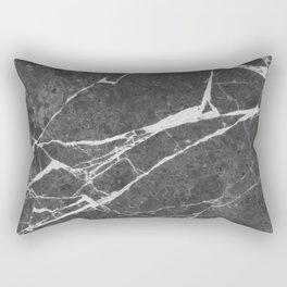 Matte Black Marble Rectangular Pillow
