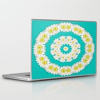 coasters Laptop & iPad Skins featuring White Daisies on Turquoise Background by Lena Photo Art