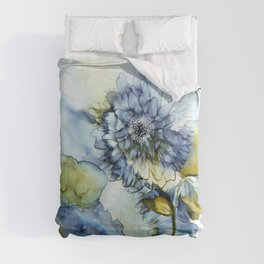 Alcohol Ink - Blue Floral Series 1 Comforters