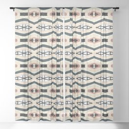 Gluck beige black and white woven pattern Sheer Curtain