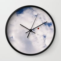 baloon Wall Clocks featuring Fly Red Baloon Fly by Julie Camino Photography
