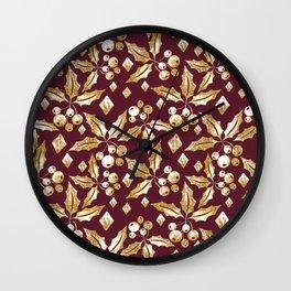 Christmas pattern.Gold sprigs on a dark Burgundy background. Wall Clock