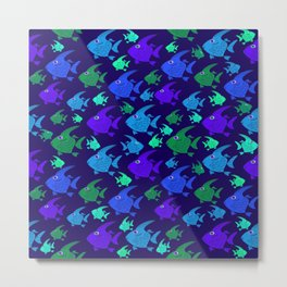 Cartoon Fish In Blues And Greens. Metal Print