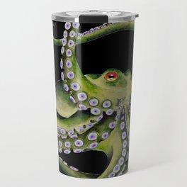 Green Octopus Tentacles Dance Black Watercolor Ink Travel Mug