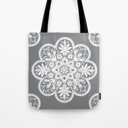 Floral Doily Pattern | Grey and White Tote Bag