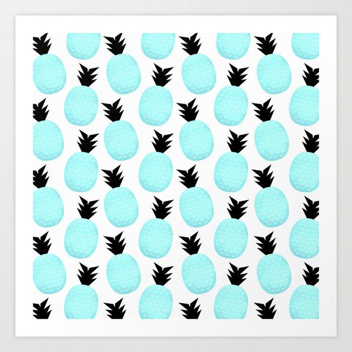 Turquoise Pineapples Art Print