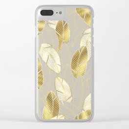 Gold tropical leaves pattern Clear iPhone Case
