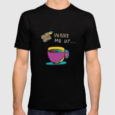 coffee first MEDIUM Black Mens Fitted Tee