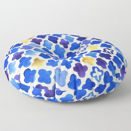 Rustic Watercolor Moroccan in Royal Blue & Gold Floor Pillow