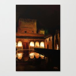 Court of the Myrtles by Night - Alhambra Canvas Print