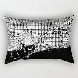 Barcelona city map black and white Rectangular Pillow
