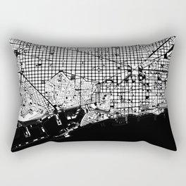 Barcelona city map black and white Rectangular Pillow