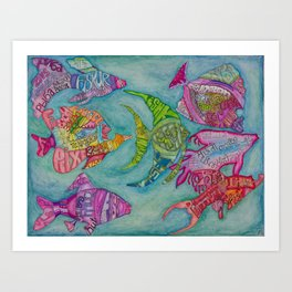 Fish in many languages Art Print