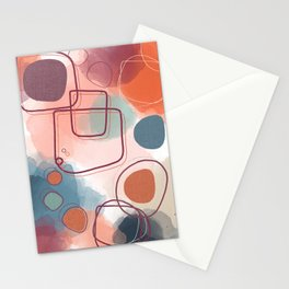 Abstract Shapes and Colours - Pinks and Blues  Stationery Cards