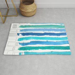Lipstick Stripes - Blue Teal Turquoise Rug