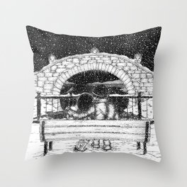 Snowfall in the Park Throw Pillow