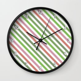 Pink Roses in Anzures 3 Stripes 1A Wall Clock
