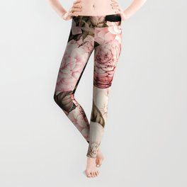 Vintage & Shabby Chic Pink Floral camellia flowers watercolor pattern Leggings