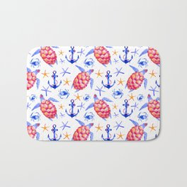 Pink violet watercolor hand painted nautical anchor turtles pattern Bath Mat