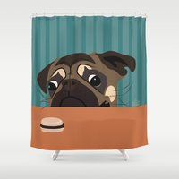 macaron Shower Curtains featuring Le pug et le macaron by brocoli art print