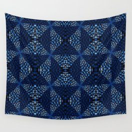 Indigo Blues Geometric Magic Quilt Print Wall Tapestry