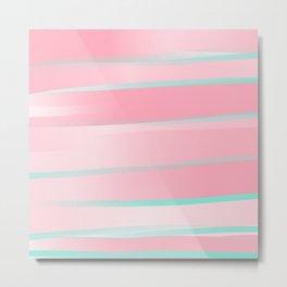 Geometric Girly Pink Teal Gradient Artsy Watercolor Metal Print