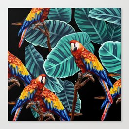 tropical leaves macaw pattern 2 Canvas Print