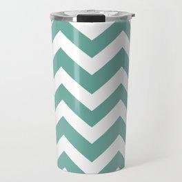 Green Sheen - grey color - Zigzag Chevron Pattern Travel Mug