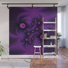 Berry Colored Fractal Flowers Wall Mural