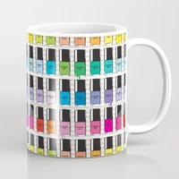 nail polish Mugs featuring Pantone color Nail Polish Spring color by MiartDesignCreation