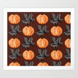 Halloween Pumpkin Rust Autumn Leaf Art Print
